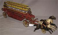 Large Wilkins Horse Drawn Fire Ladder Wagon